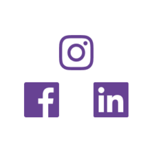 Social media icons for Facebook, Linkedin, and Instagram