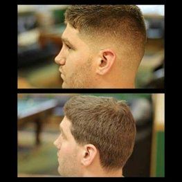 picture shows barber customers hair before and after barbering services in Sanborn NY