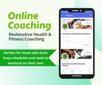 Multiple photos of mobile phones showing Coach Ryan Fitness online personal training app.