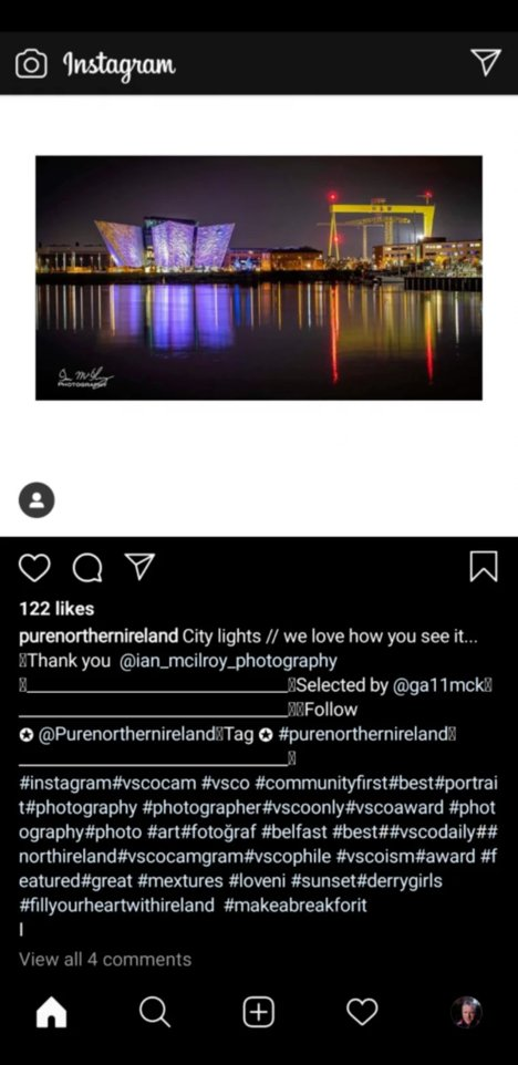 Pure Northern Ireland Instagram Post with hashtags