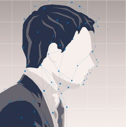 man's face connected with dots