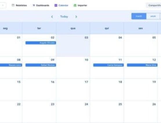 Visualize o Calendário de Compromissos do Mês da Equipe