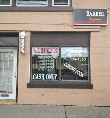 Barbershop exterior, Gentlemens Club Barber Sanborn NY