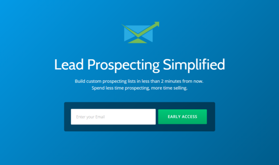 Image of a landing page for lead generation
