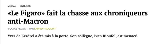 Le Figaro fait la chasse aux chroniqueurs anti macron