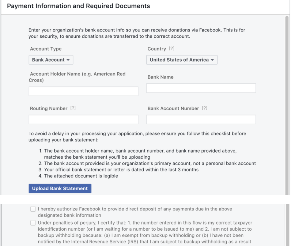 facebook donation account form payment tax documents