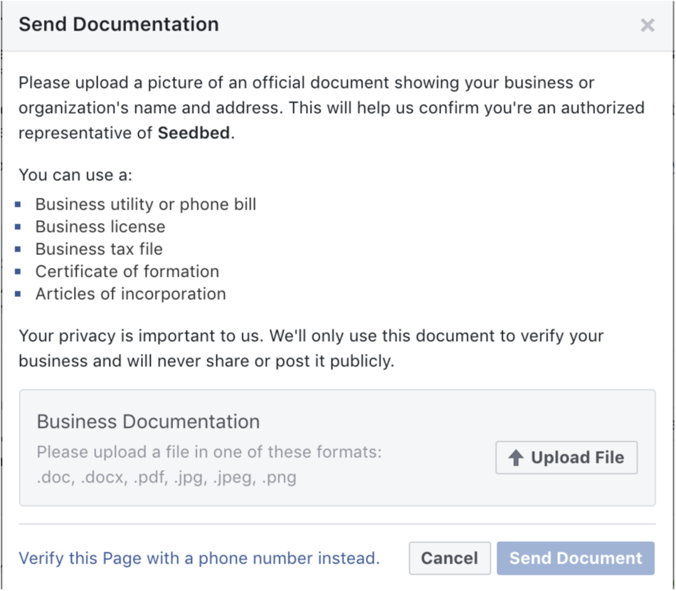 facebook-send-official-charity-documents-CEO-Address-tax-forms